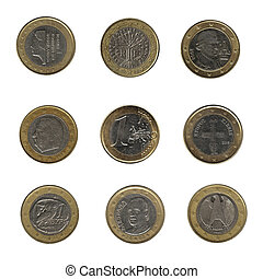 nine one euro coins from different nations