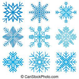 Nine original vector snow-flakes