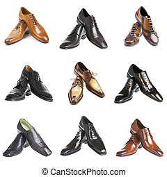 nine man's shoes on a white background