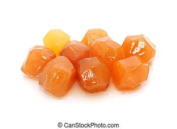 Nine pieces of sticky stem ginger