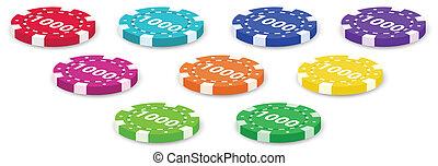 Nine poker chips