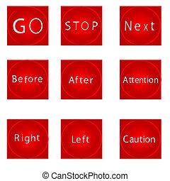 Nine red squares.