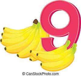 Nine ripe bananas
