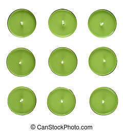 Nine round candles - Set of nine green round candles, top...