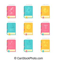 Nine School Lessons Book Covers Vector Illustration