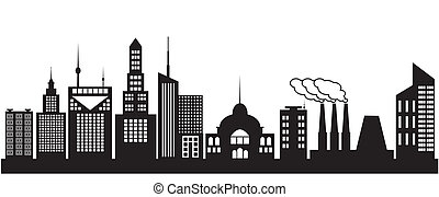 Nine silhouettes of city buildings