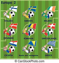 Nine soccer football teams from Europe