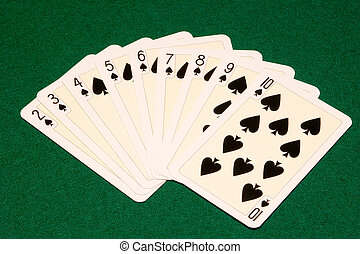 nine spades - the nine spades playing cards on green cloth