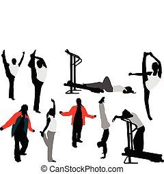 Nine sport silhouettes