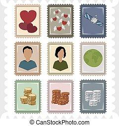 Nine stamps