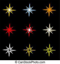 Nine holiday stars on black background.