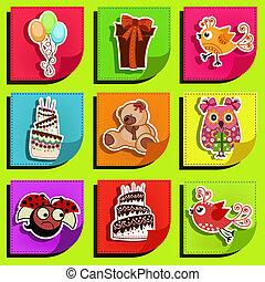 Nine stickers on his birthday