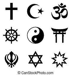 Nine symbols of World religions and major religious groups...