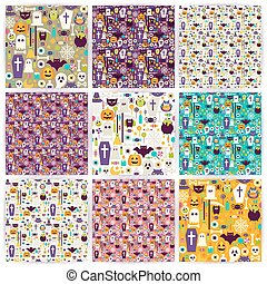 Nine Vector Flat Seamless Halloween Party Patterns Collection