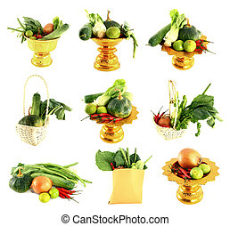 nine vegetables mix on white background