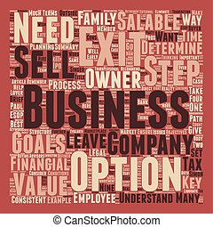 Nine Ways to Exit Your Company text background wordcloud concept