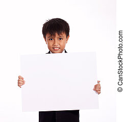 nine year old boy holding a white blank board