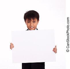 nine year old boy holding a white blank board