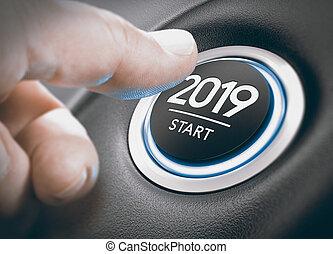 nineteen., 2019, deux, début, mille