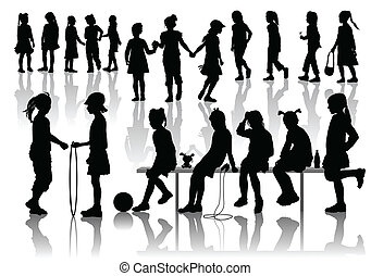 Nineteen silhouettes of playing girls