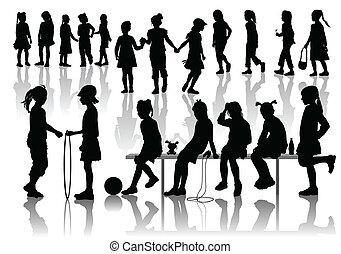playing girls - Nineteen silhouettes of playing girls