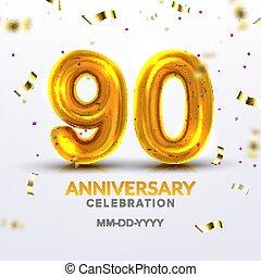 Ninetieth Anniversary Celebration Number Vector