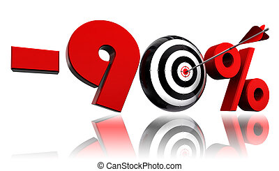 ninety per cent red discount symbol target and arrow