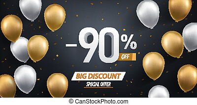 Ninety percent discount. Gold and white balloons with confetti on black background.