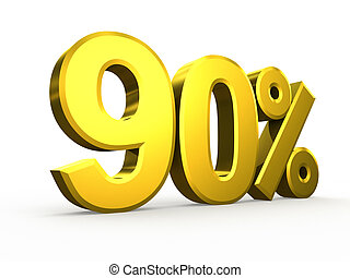 Ninety percent symbol on white background