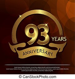 Ninety three years anniversary golden. anniversary template design for web, game ,Creative poster, booklet, leaflet, flyer, magazine, invitation card - Vector