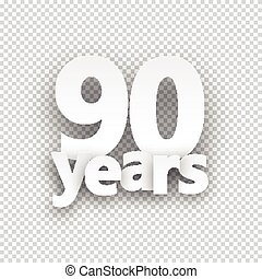Ninety years paper sign over cells. Vector illustration.