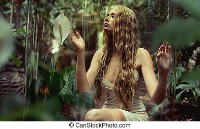 ninfa, el gozar, joven, silencio, bosque