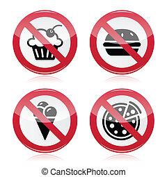 ningún alimento, rápido, dulces, advertencia, rojo