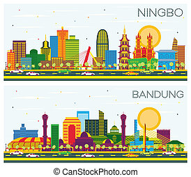 Bandung Indonesia and Ningbo China City Skylines Set with Color Buildings and Blue Sky.