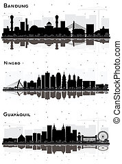 Ningbo China, Guayaquil Ecuador and Bandung Indonesia City Skyline Silhouette Set with Black Buildings and Reflections Isolated on White.