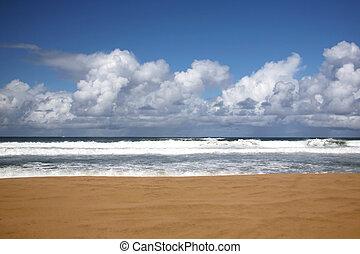 ninguém, lá, praia, havaí, kauai