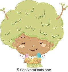 ninho, árvore, ilustração, menina, pássaros, criança