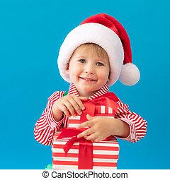 niniejszy, portret, dziecko, szczęśliwe boże narodzenie