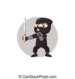ninja, イラスト, 男の子