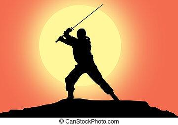 ninja, シルエット, イラスト
