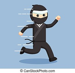 ninja, 動くこと, ベクトル, イラスト