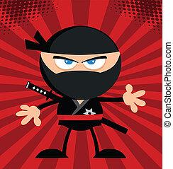 ninja, 戰士, 在上方, 紅的背景