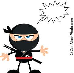 ninja, 戰士, 由于, 演說泡