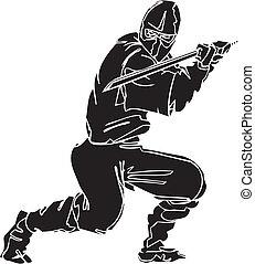 ninja, 戰士, -, 矢量, illustration., vinyl-ready.