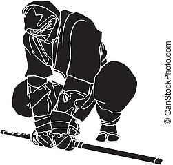 ninja, 전사, -, 벡터, illustration., vinyl-ready.