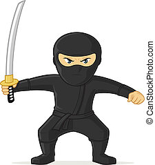 Ninja - Angry black ninja with katana sword vector cartoon...