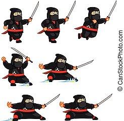 ninja, animation, sprite, dicker