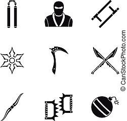 Ninja arsenal icons set, simple style - Ninja arsenal icons...