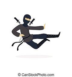 Ninja assassin character in a full black costume jumping with katana swords behind his back, Japanese martial art vector Illustration