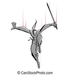 ninja, atacar, espada